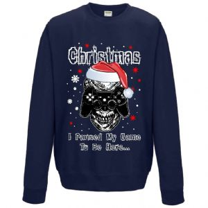 Premium Funny Gamer Christmas Santa Hat Design With I Paused My Game Motif Sweatshirt Jumper